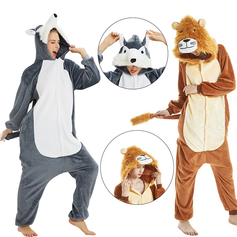 Kigurumi Unicorn Pajama Adult Animal Onesies For Women Men Winter Lion Wolf Pajamas Kegurumi Sleepwear Flannel Pijamas Pyjama