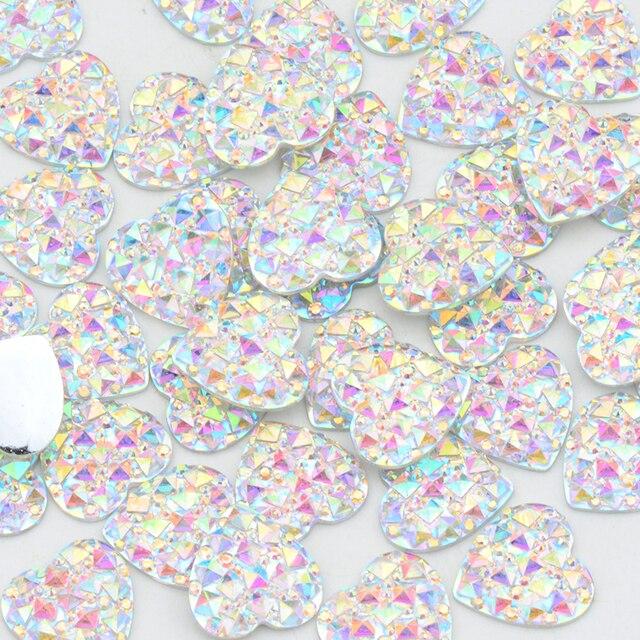 6 8 10 12 16 20 30 35mm paillettes grand AB cristal coeur Strass Applique dos plat cristal pierre résine gemmes Non correctif Strass