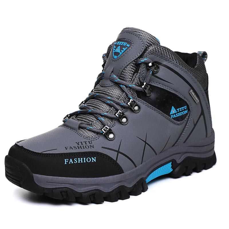 Marka mężczyźni zimowe buty śniegowe ciepłe Super mężczyźni wysokiej jakości wodoodporne skórzane trampki Outdoor męskie buty trekingowe obuwie robocze 39-47