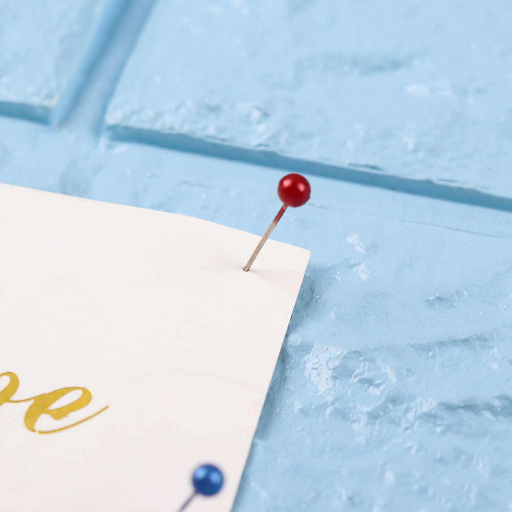 100/250 PCs/Boxed Kaart Kopspijkers Push Pins Plastic Glas Roestvrij Staal Hoofd met Stalen Punt Kurk Boord Veiligheid Gekleurde punaise