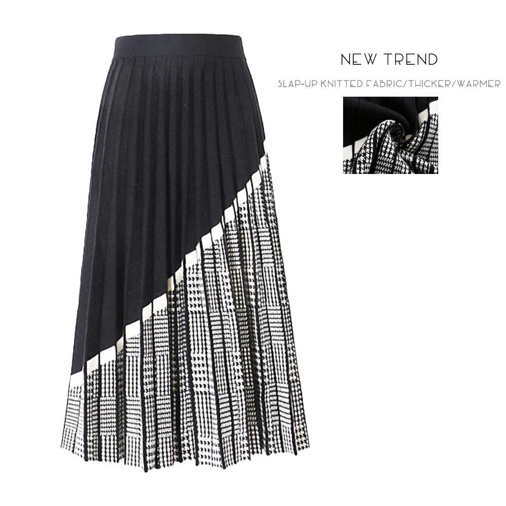 Knitted Skirt Pleated Skirt Plaid Skirt Women Skirt Midi Skirt Retro Skirt Warm Long High Waisted Skirt юбка длинная Maxi Skirt