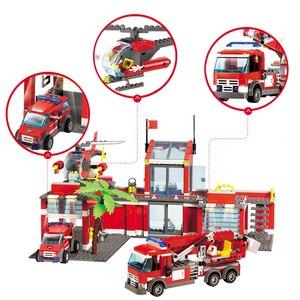 Image 3 - Modelo de estação de bombeiros da cidade conjuntos de blocos de construção caminhão bombeiro tijolos educativos brinquedos para crianças presentes
