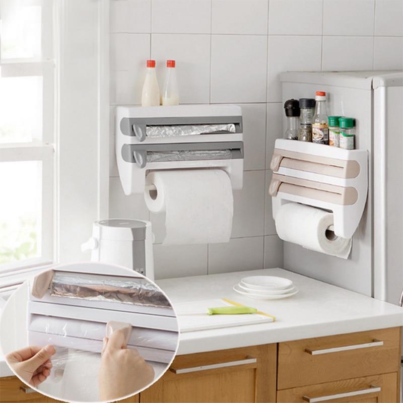 Kitchen Organizer Paper Towel Holder Cling Film Cutting  Holder Sauce Bottle Tin Foil Paper Storage Rack Kitchen Shelf
