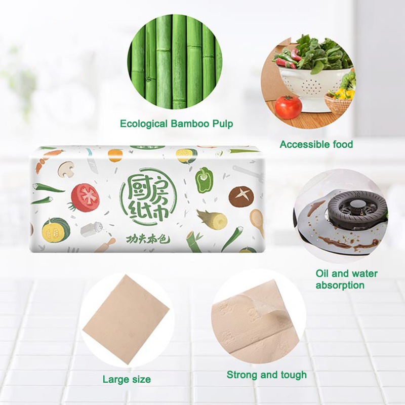 3 Packs Strong Oil-absorbing Kitchen Tissue Wood Pulp Water Absorption Paper Towel New D88