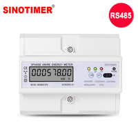 RS485 Modbus Rtu DIN Rail 3 Phase 4 Wire LCD Digital Wattmeter Electronic Power Consumption Energy Meter 5 100A 380V AC 50Hz