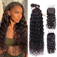 Maxine onda de água pacotes 3 pacotes com fechamento do laço 100% cabelo peruano tecer 30 Polegada remy feixes de cabelo humano com fechamento
