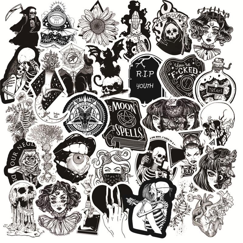 10/30/50 adet siyah beyaz gotik tarzı kız ve kafatası grafiti çıkartmalar DIY dizüstü bagaj gitar kaykay araba çıkartması çocuk oyuncak