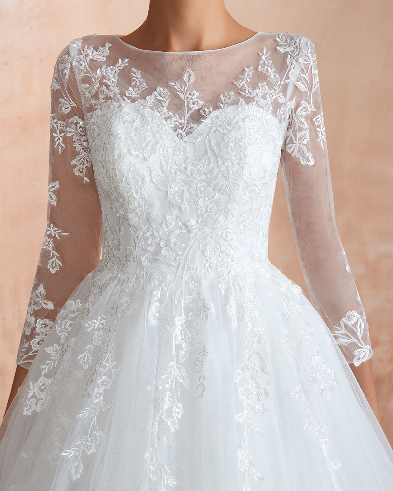 Elegant Ball Gown Wedding Dresses 2019 New O Neck Three Quarter Sleeves Appliques Lace Simple Long vestido de noiva Bridal Gowns in Wedding Dresses from Weddings Events