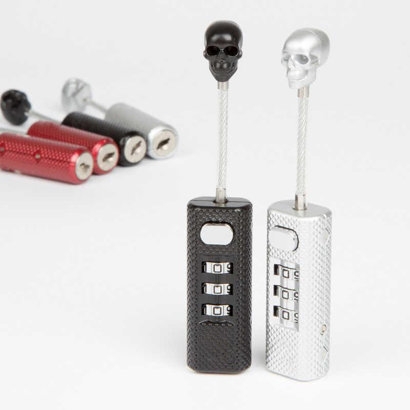 Baru Kreatif Tengkorak Logam Kunci Bagasi Tiga Digit Gembok Kombinasi Keamanan Mini Check Perjalanan Tas Kunci Kode Kunci