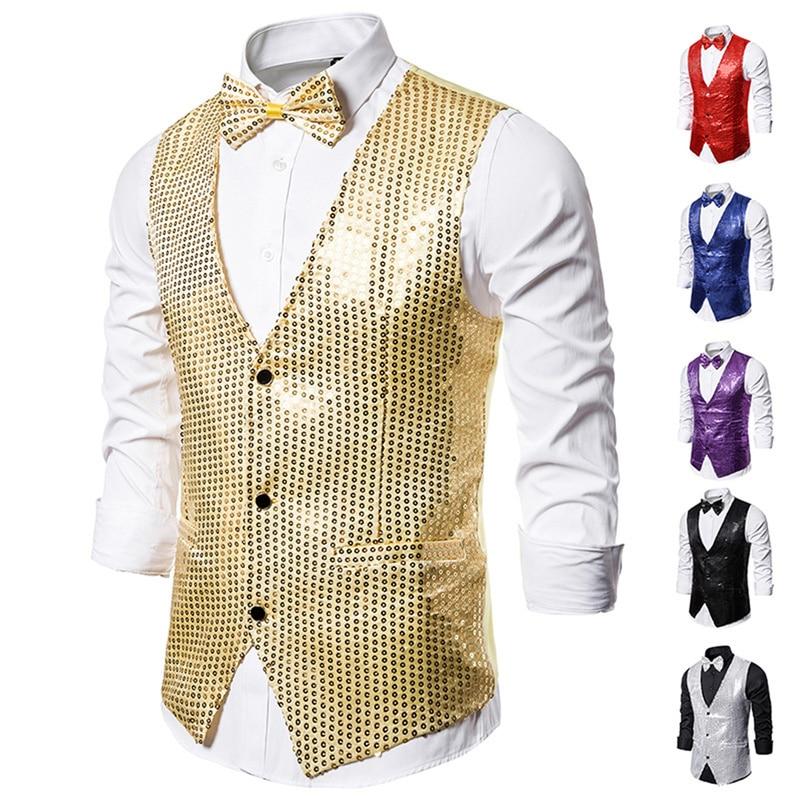 Helisopus New Men's Vest V-neck Sequins Gowns Coats With Bow Tie Simple Slim Fit Suit Vest For Parties Performances