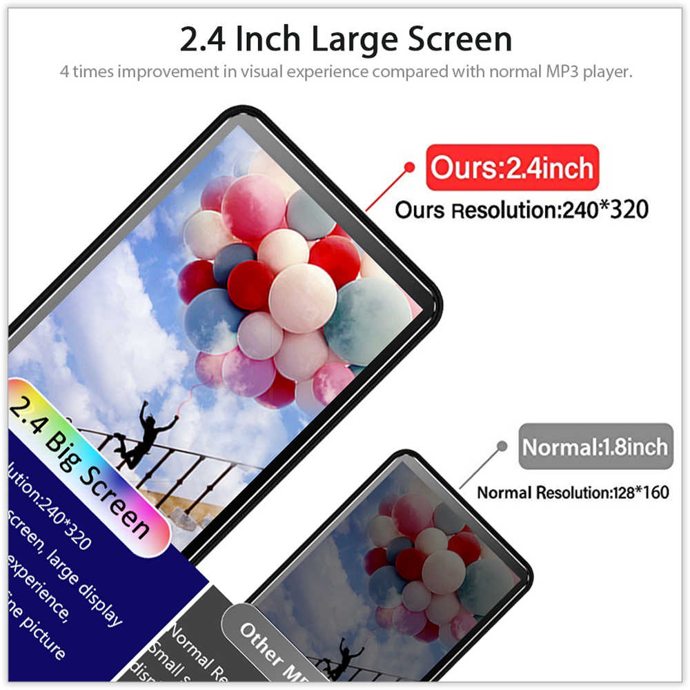 ICEICE MP3 MP4 Nghe Bluetooth ngang bằng Tai Nghe Chụp Tai màn hình cảm ứng 8GB 40GB Sách Điện Tử đọc FM Radio Video MP 4 MP-4 4GB 8GB 32GB Máy Nghe Nhạc