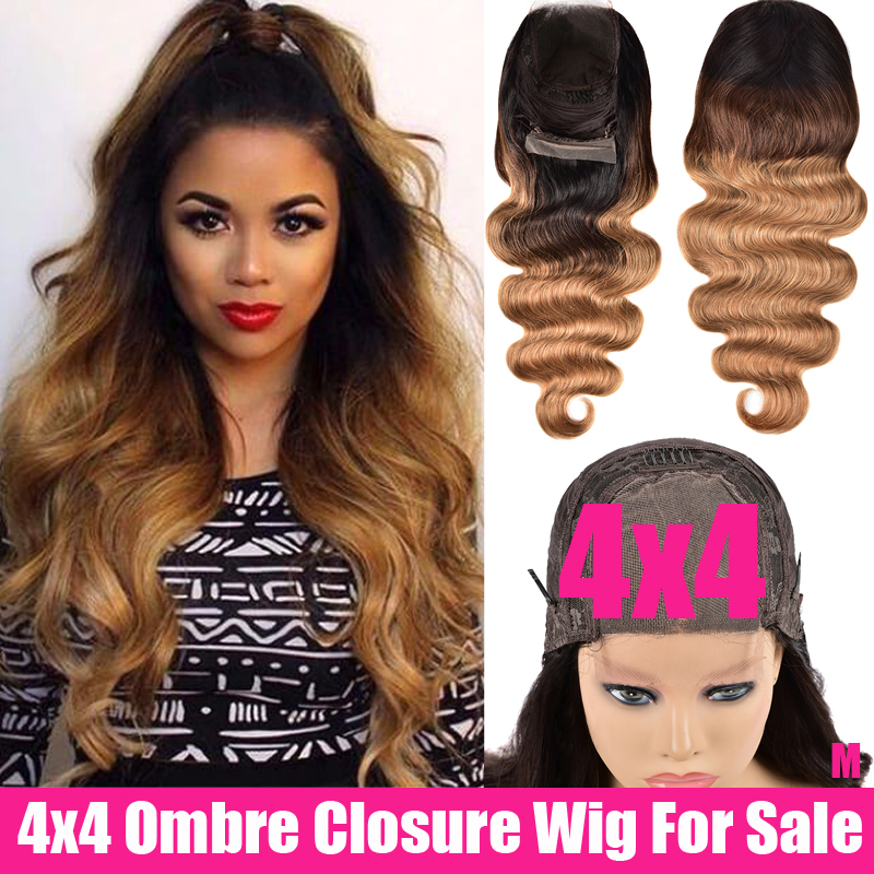 SAYME Ombre Body Wave Closure Wig 4x4 Lace Closure Wig Remy Peruvian Wigs Middle Part 150% Swiss Ombre Human Hair Wig For Women
