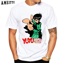 Japanse Anime Cartoon Yu Yu Hakusho Print T-shirt Mannen Zomer T-shirt Grappig Harajuku Tops Casual Tees Punk Jongen Korte mouwen(China)