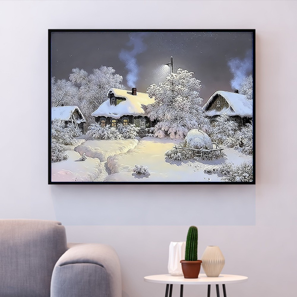 HUACAN DIY Pictures By Numbers Winter Scenery Kits Drawing Canvas HandPainted Oil Painting By Number Landscape Home Decoration in Paint By Number from Home Garden