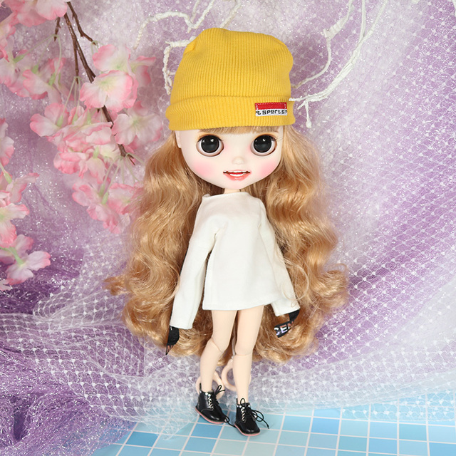 ICY blyth doll hand painted matte face white skin golden curls hair suit doll with teeth lips eyebrows 30cm DIY BJD SD gift