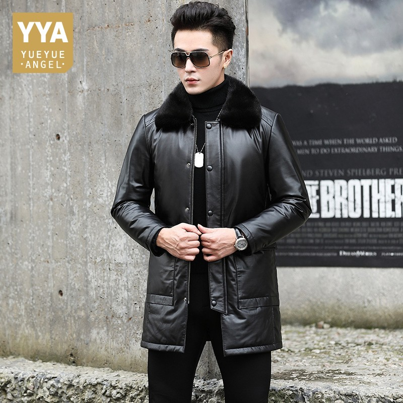 Winter Men Long Real Cow Leather Down Jacket Warm Slim Genuine Leather Coat Cowhide Mink Fur Collar Large Size Overcoat 2019 New