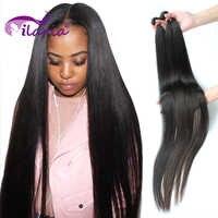 ILARIA 30 32 38 40 pulgadas brasileño recto extensiones de pelo ondulado extensiones de cabello Remy Natural 3 4 paquetes de 100% extensiones de cabello humano