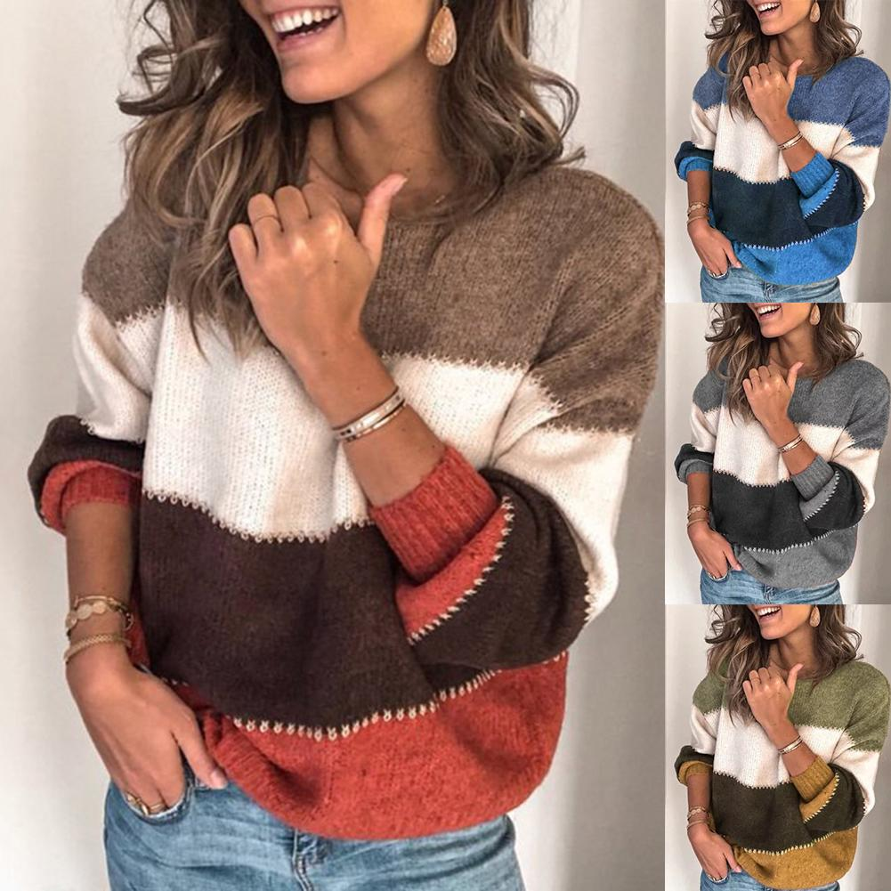 Women Sweaters Pullovers Winter Sweaters Thicken Casual Color Block O Neck Knitted Sweater Pullover Women's Sweaters Ladies Top