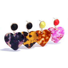 Big Tortoiseshell Love Heart Dangle Earring for Women Acrylic Za Statement Drop Earring Wedding Party Jewelry korean earrings