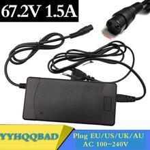 67.2V adaptador de alimentação carregador 1.5A 60V 1.5A para 60V 16S Li ion e bicicleta bicicleta elétrica De Lítio bateria bicicleta 3 Prong Inline