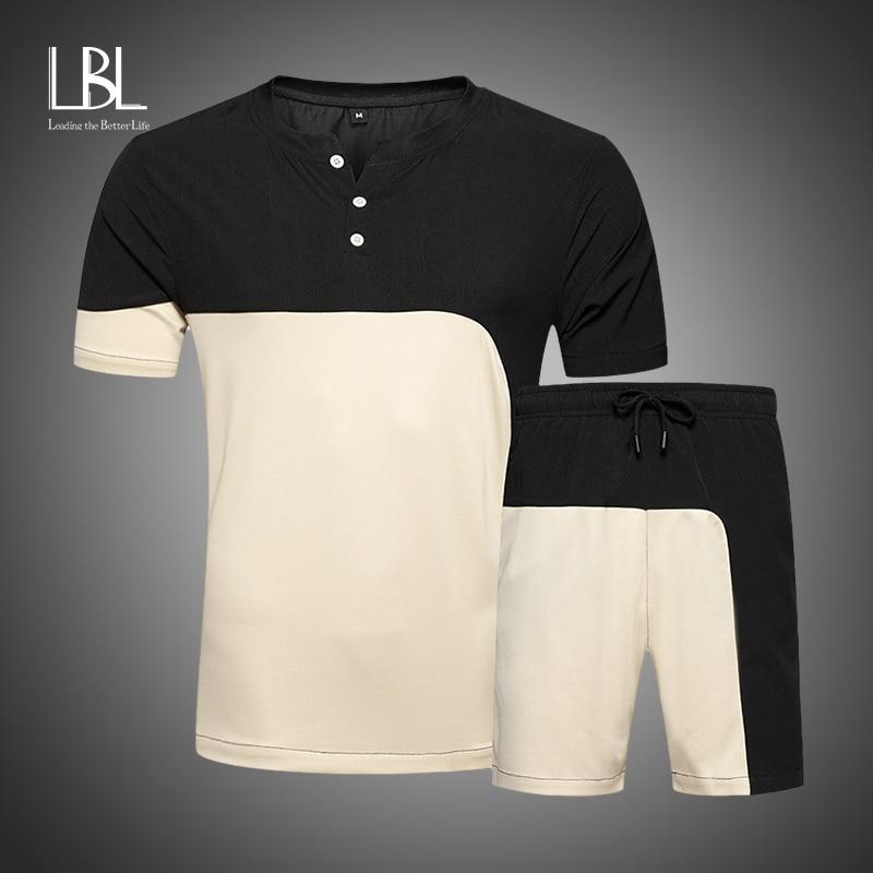 New Summer Set Men Causal Bedding Suits Short Sleeve 2PCS Sweatsuit + Shorts Fashion Tracksuit Men Sportsuits T-shirt + Shorts