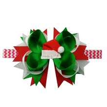 5 inch Christmas Hat Hair Bows for Toddler Ribbon Band accessory Elastic For Baby Girls