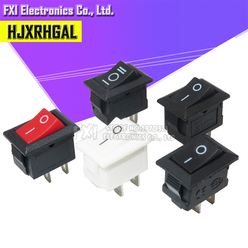10Pcs Push Button Switch 10x15mm SPST 2Pin 3pin 3A 250V KCD11 Snap-in On Off Boat Rocker Switch 10MM*15MM Black Red White