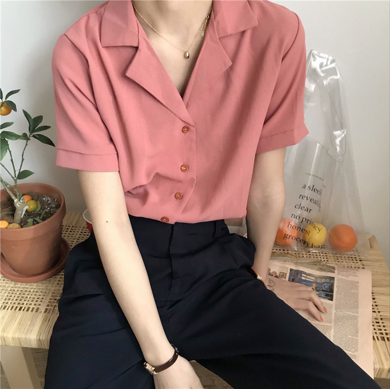 Casual Solid Female Shirts Outwear Tops 2020 summer short sleeve  Women Chiffon Blouse Office Lady V-neck Button Loose Clothing 9