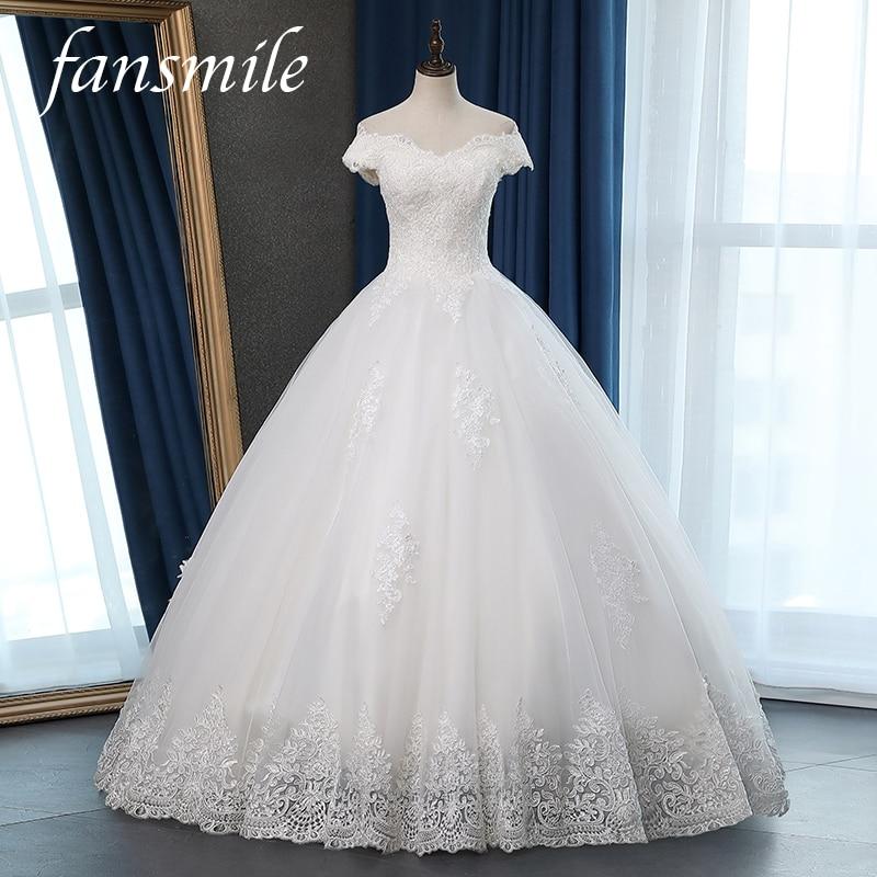 Fansmile Vestidos De Novia Vintage Ball Gown Lace Wedding Dress 2020 Princess Quality Lace Wedding Bride Gowns FSM-049F