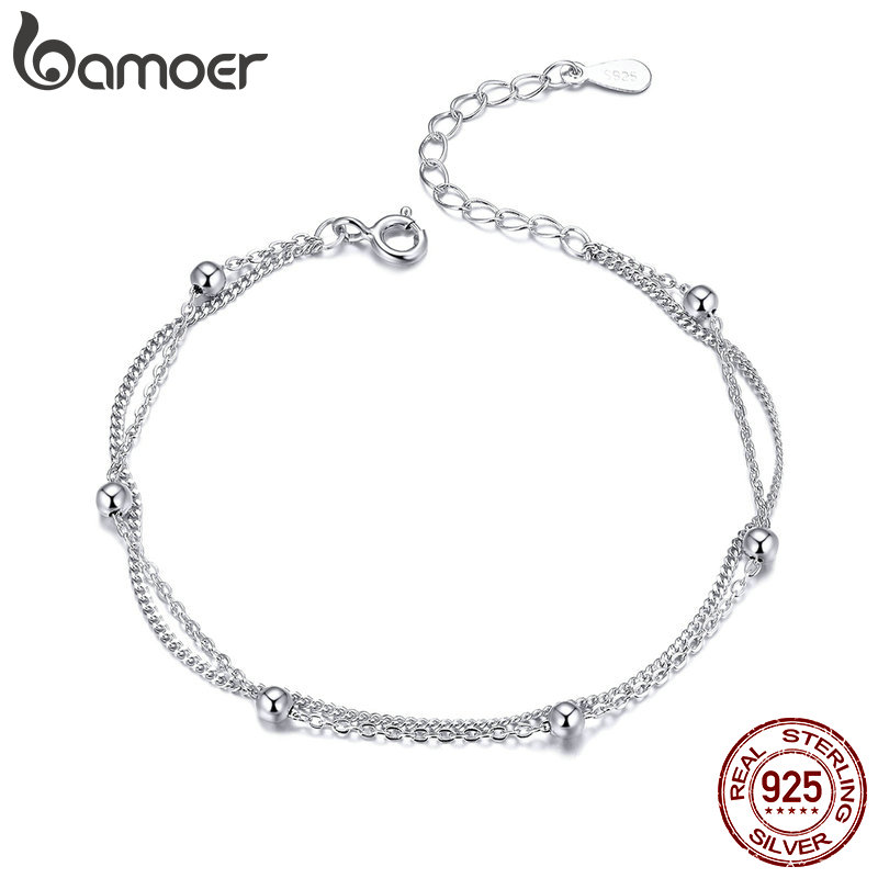BAMOER 925 Silver Chain Bracelet Women Round Beads Double Layers Link Chain Bracelets Female Sterling Silver Jewelry 2019 SCB131