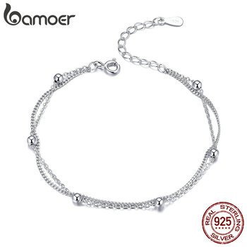 BAMOER 925 Silver Chain Bracelet Women Round Beads Double Layers Link Chain
