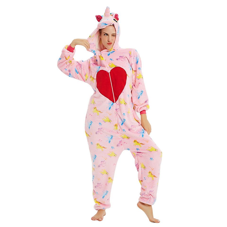 QHYZOU Animal Unicorn Couple Pajamas Sets For girls Women Onesies adults Cartoon Pijama Unicornio Funny  Jumpsuit  Party