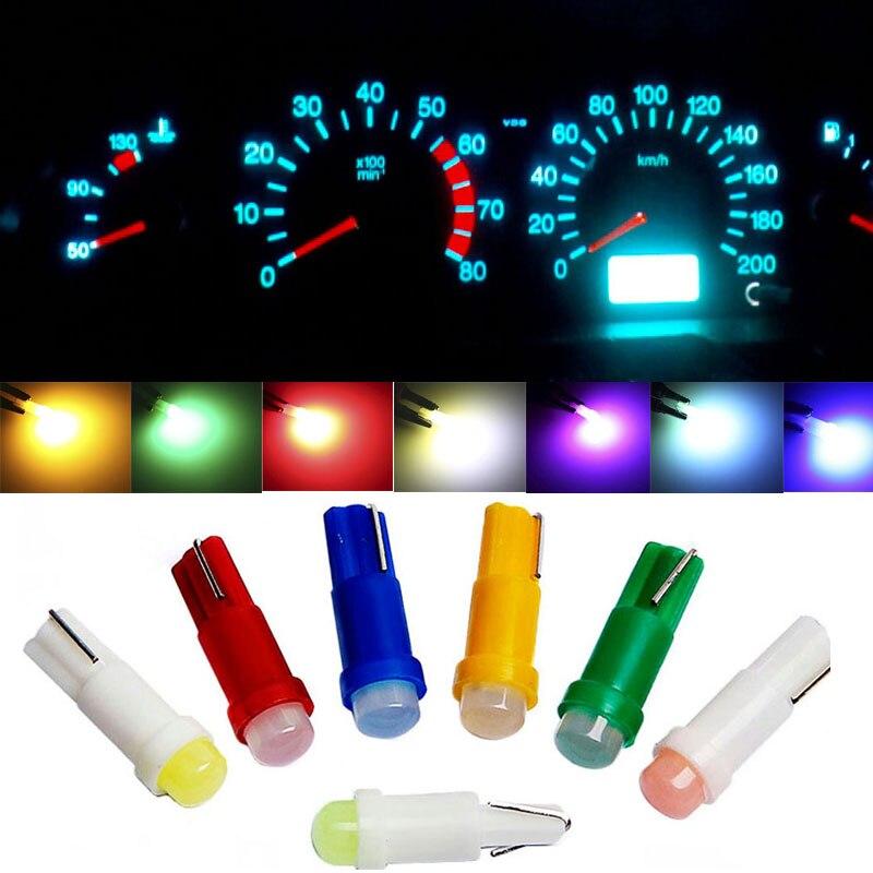 Светодиодный светильник T5, 10 шт., светодиодный светильник s W1.2W W3W для салона автомобиля, боковая панель приборов с клиновидным индикатором, л...