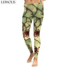 LEIMOLIS sexy gothic bloody scar zombies print push up leggings plus size women fitness workout punk high waist spandex leggins