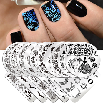BORN PRETTY Stamping Plates Xmas Flowers Stainless Steel Nail Art Stencil Nail Stamp Template Nail Accessories French Nails DIY недорого