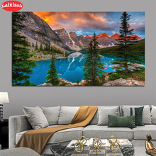 Diamond Painting Natural scenery, sunset, mountains, lakes, forests 5d Cross Stitch Diamond Embroidery Mosaic Gift Home Decor