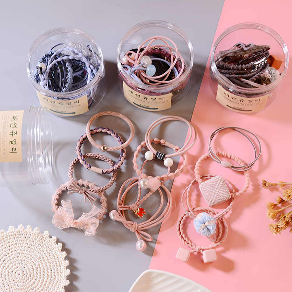 12 個セットの髪のロープのゴムバンドの毛リングセット革ヘッドロープ韓国スモール新鮮でシンプルな人格素敵な