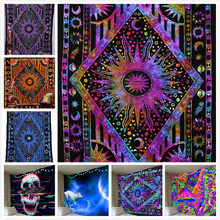 Hippy Hippie Psychedelic Celestial Mandala Moon Sun Tapestry Wall Hanging Large Indian Bohemian Hippy Tapestries Cloth Decor