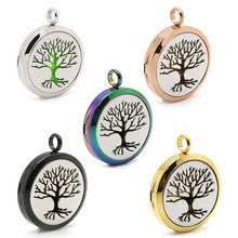 BOFEE Arom Diffuser Necklace Pendant Aromatherapy Tree Of Life Locket Stainless Steel Essential Oil Perfume Chain Jewelry Gift