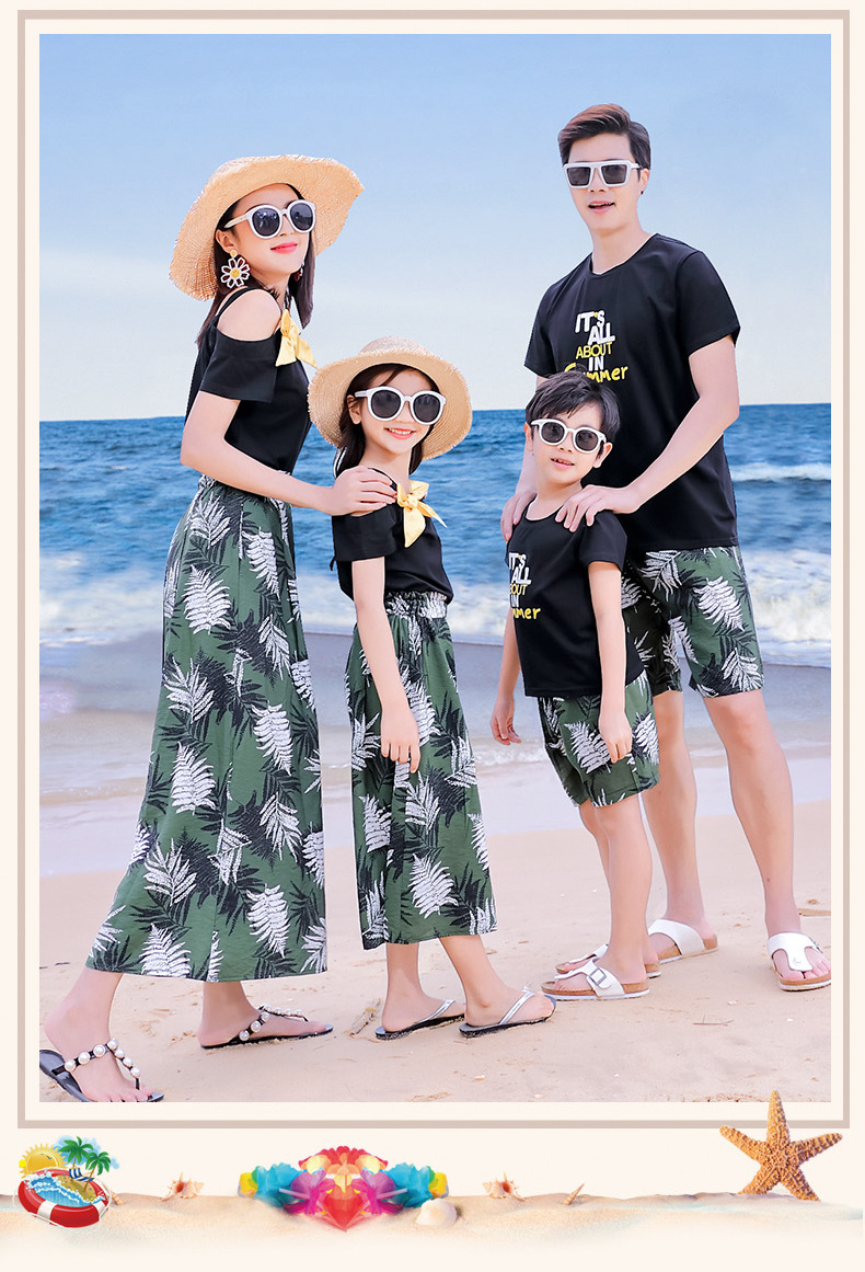 H5923a865eabd4e10b193f4da52b6d4513 - Matching Family Outfits Summer Mum Daughter Dad Son Cotton T-shirt +Pants Holiday Seaside Beach Couples Matching Clothing
