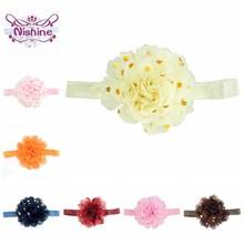Nishine 22 renkler 10 CM bebek şifon çiçek kafa bandı altın noktalar Toddler elastik Hairband bebek şapkalar parti dekorasyon