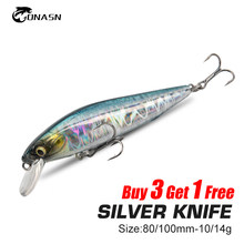 ONASN SLIVER-KNIFE Minnow Fishing lures Sinking 100mm 80mm Hard Baits High Quality Jerk baits Wobblers Sea Bass Fishing Tackle