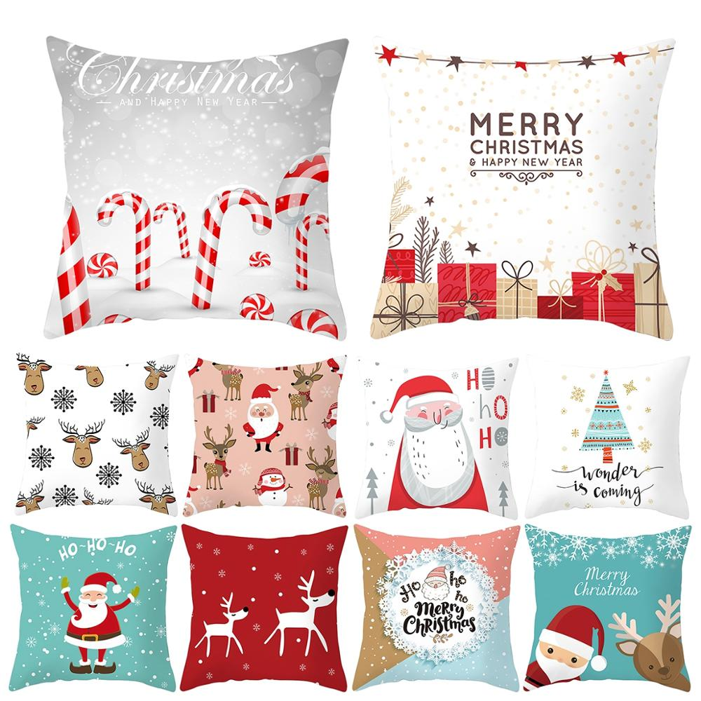 QIFU Cartoon Santa Claus Snowman Christmas Pillowcase Christmas Decor for Home Xmas Gifts Natal Navidad 2019 Happy New Year 2020 in Pendant Drop Ornaments from Home Garden