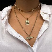 Роскошные ожерелья подвески luokey с ангельскими крыльями для