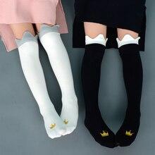Winter Socks Princess Kids Cotton Children Baby-Girls Fashion Cute Knee Autumn Crown