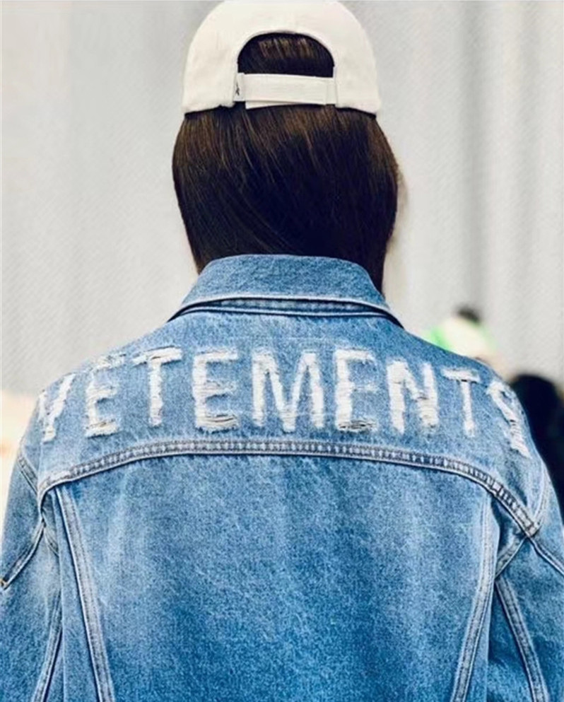 1:1 Top High Quality Vetements Destroyed Denim Jacket Men Women Streetwear Mens Jean Jackets mens coats and jackets