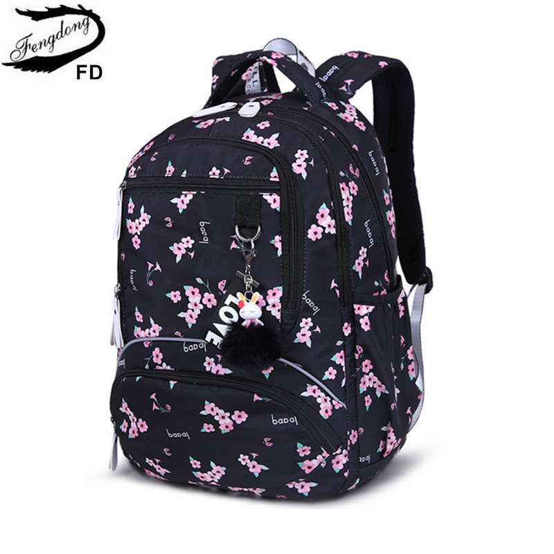 Fengdong Korean Sytle Children's School Backpack Kids Book Bag School Bags For Girls Waterproof Laptop Backpack Female Bagpack