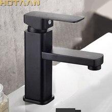 Estilo moderno cor preta torneira da bacia misturador de água fria e quente da bacia único punho do banheiro