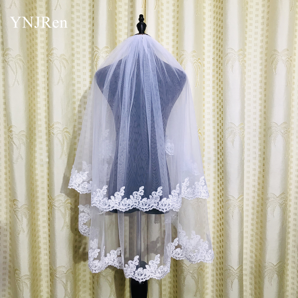 Real photos Two layer White Ivory Wedding Veil Lace Fingertip Long wedding accessories Cheap Voile Bridal Veils With Comb
