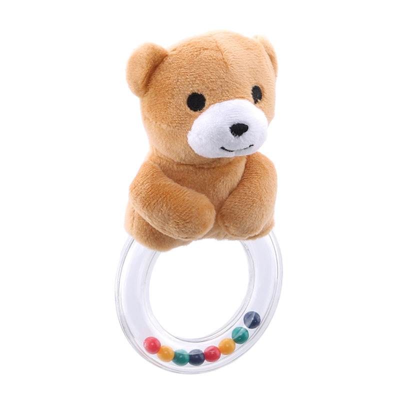 0-12 Months Baby Teether Toys Plastic Hand Jingle Shaking Bell Toy Lovely Bear Hand Shake Bell Ring Baby Rattles Toys